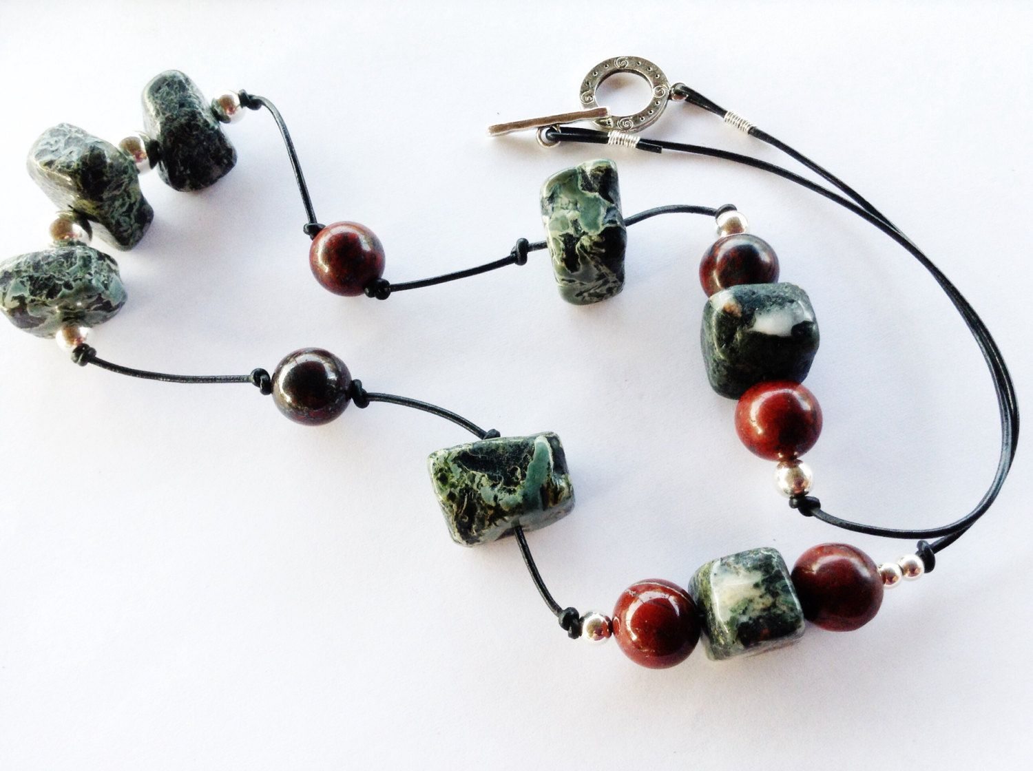 Red Jasper (Supreme Nurturer) Gemstone Necklace || Green Moss Agate || Leather || Sterling Sliver || by TropicWindJewelry on Etsy