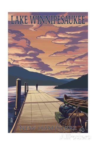 Lake Winnipesaukee New Hampshire Dock Scene At Sunset Poster By Lantern Press Travel Posters Lake Art Montana Lakes