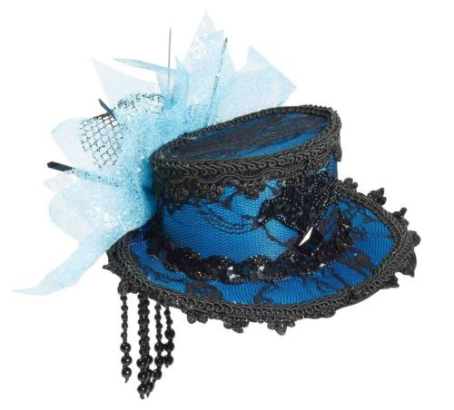 Mini Blue Black Lace Victorian Top Hat Clip On Adult Womens Costume Accessory