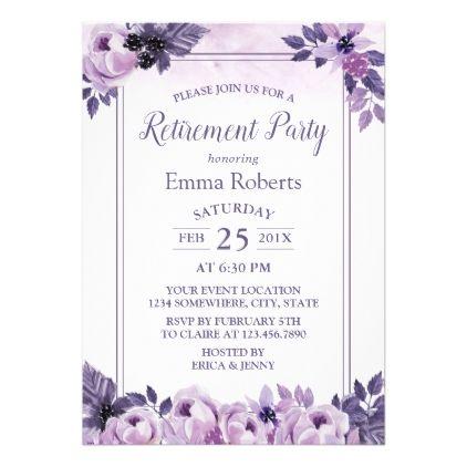 Elegant Watercolor Mauve Floral Retirement Party Card Invitation ideas