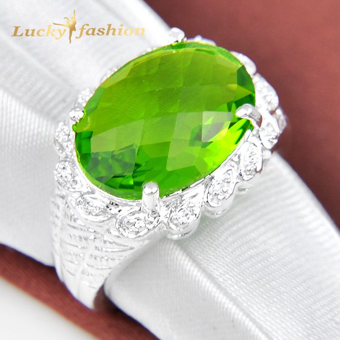 Trendy Promotion Jewelry Oval Peridot Silver Plated Wedding Rings