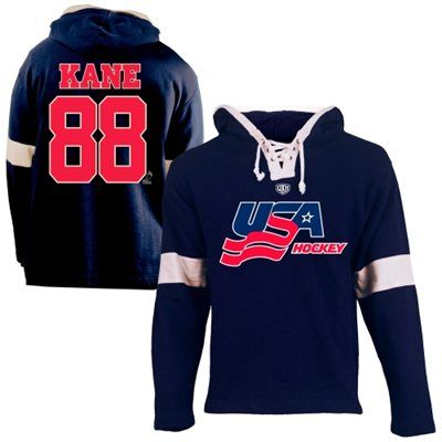 Old Time Hockey Patrick Kane Usa Hockey Youth Name Number Hoodie Navy Blue Usa Hockey Athletic Outfits Olympic Apparel