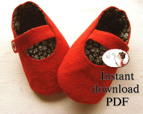 Baby Shoe Sewing Pattern  Red Mary Jane di LenasShoePatterns
