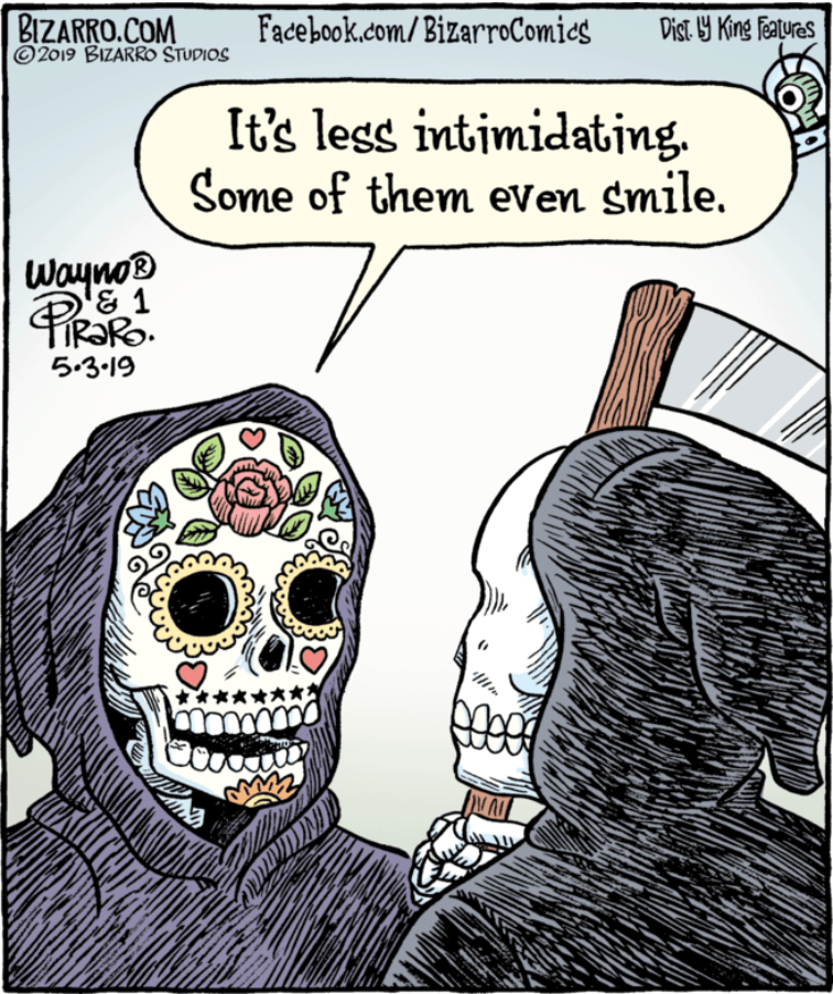 The Grim Reaper Gets A Colorful Day Of The Dead Look Grim Reaper Cartoon Grim Reaper Art Grim Reaper