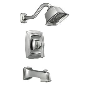 Moen Boardwalk Chrome 1 Handle Bathtub And Shower Faucet With Single Function Showerhead Shower Tub Shower Faucet Sets Shower Faucet