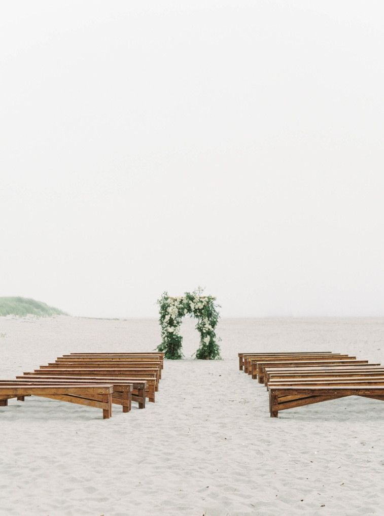 Beautiful beach wedding ceremony setting