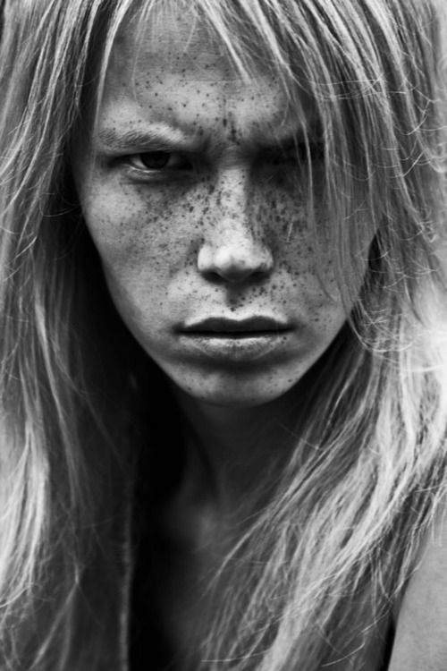 Black and white portrait face with freckles