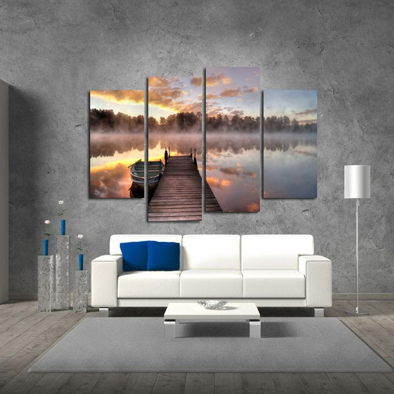 Miico Hand Painted Four Combination Decorative Paintings Foggy Lake Surface Wall Art For Home Decora#art #combination #decora #decorative #foggy #hand #home #lake #miico #painted #paintings #surface #wall