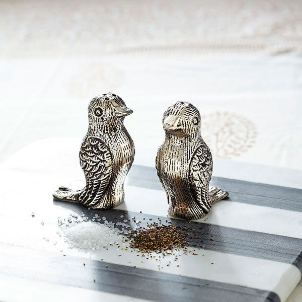 "Dimensions:1.75""w x 2.5""d x 3.25""hSet of 2 Set includes one salt and pepper shaker  Makes a great gift  For everyday use or special occasionsLove is in the air (or at least on your tabletop!). Embossed with a detailed pattern, this incredibly handsome—yet practical—duo will set the table and season in style. After all, love conquers all."