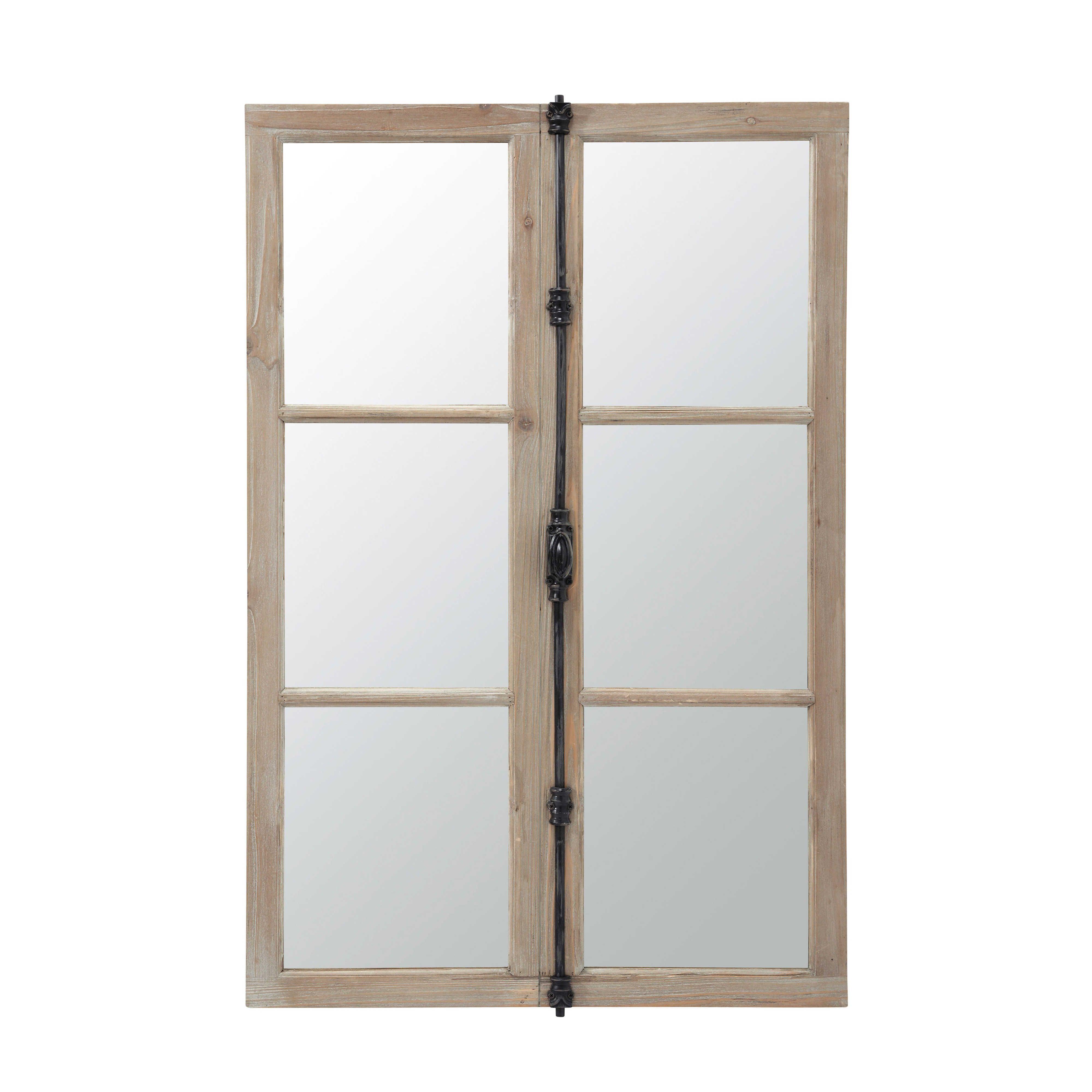 miroir fen tre en sapin et m tal noir 80x120 maisons du. Black Bedroom Furniture Sets. Home Design Ideas
