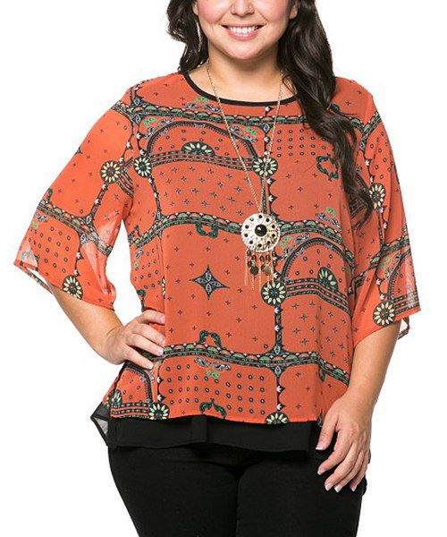 Look at this Essential Collection Orange Tile Three-Quarter Sleeve Top & Necklace - Plus on #zulily today!