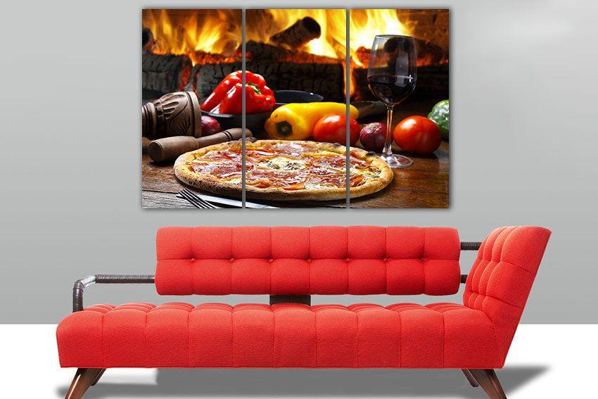 Pizza Canvas Kitchen Decor Pizza Art Food Home Art Vegetable Print