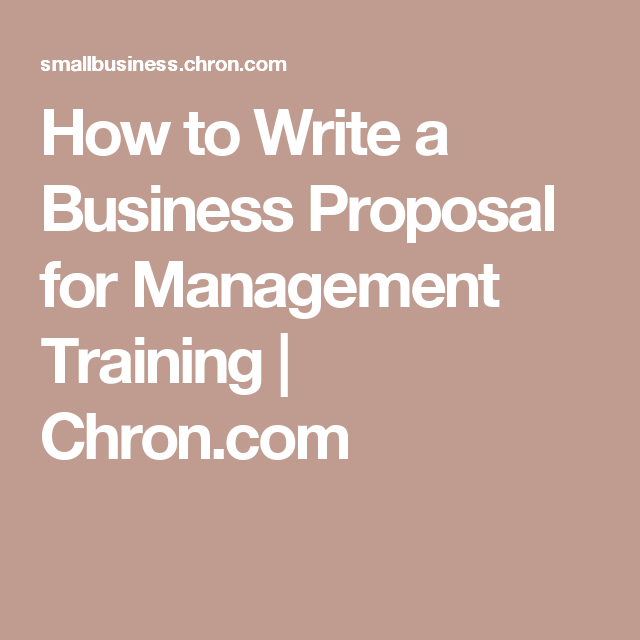 How To Write A Business Proposal For Management Training