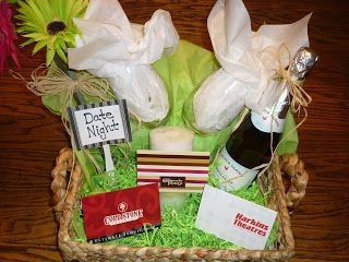 Date Night Gift Basket: $50 Cheesecake Factory Gift Card $25 Harkins Gift Card $10 Coldstone Creamery Gift Card Candle Wine Glasses Bottle of Sparkling ...