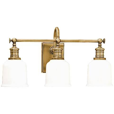 Hudson Valley Keswick Wide Aged Brass Bath Light Home - Bathroom light fixtures brass finish