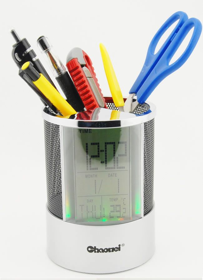 Pen Pencil Holder And Digital Clock Temperature Display Home Office