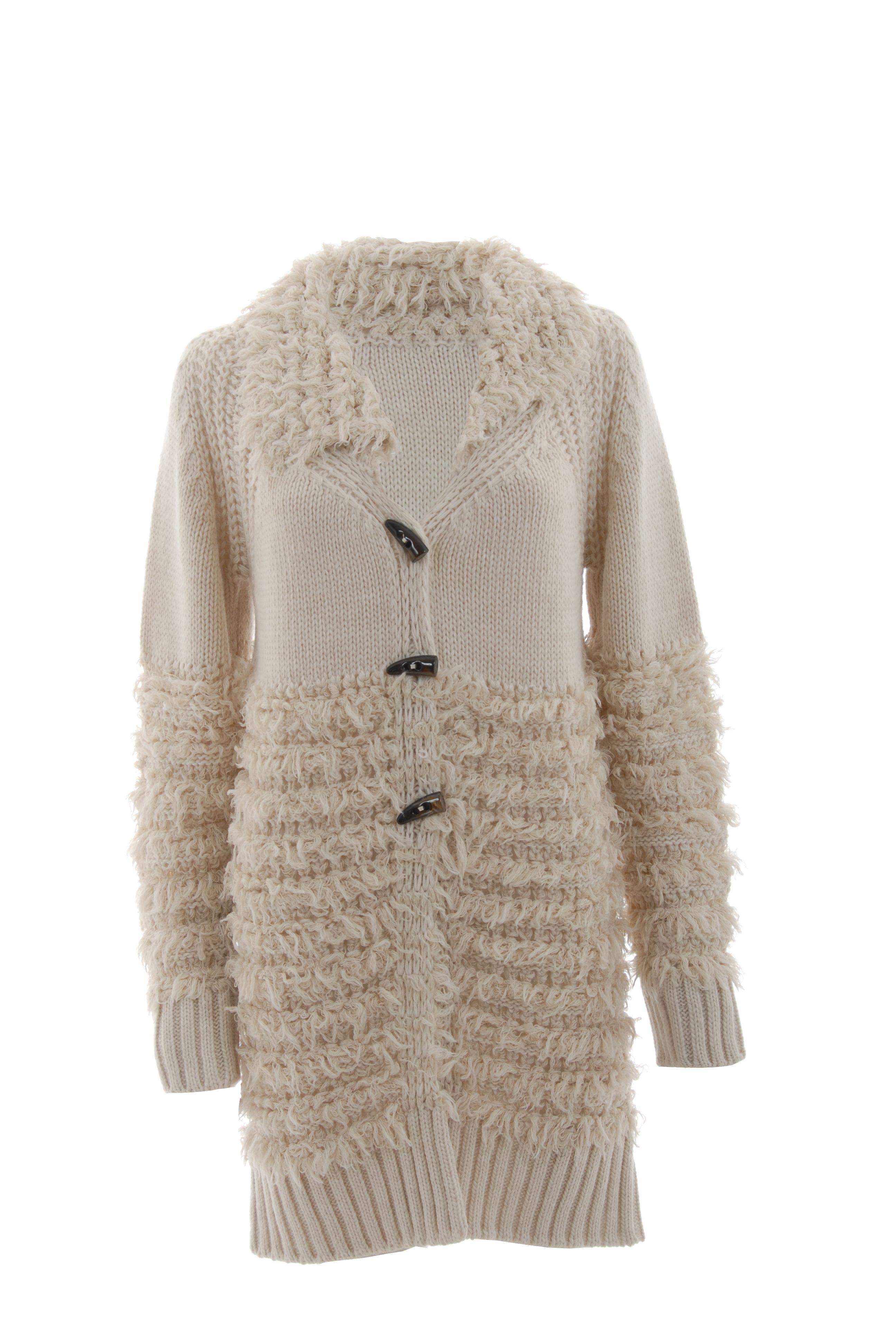 Cappotto ecrù lana lunga 3 alamari