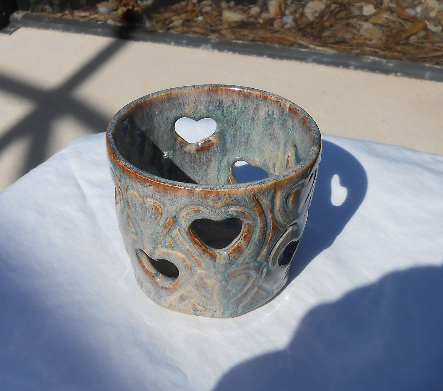 Small Candle Holder in Blue Cr¨me and Brown with Heart Etchings