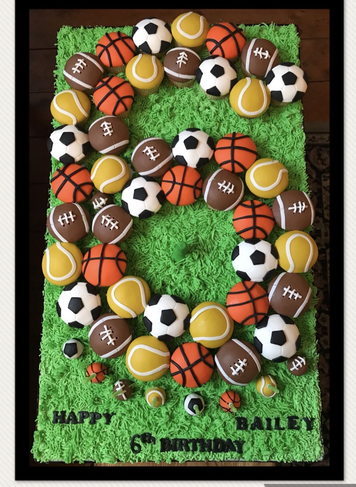 Sports Multi Sports Cupcakes Football Basketball Tennis