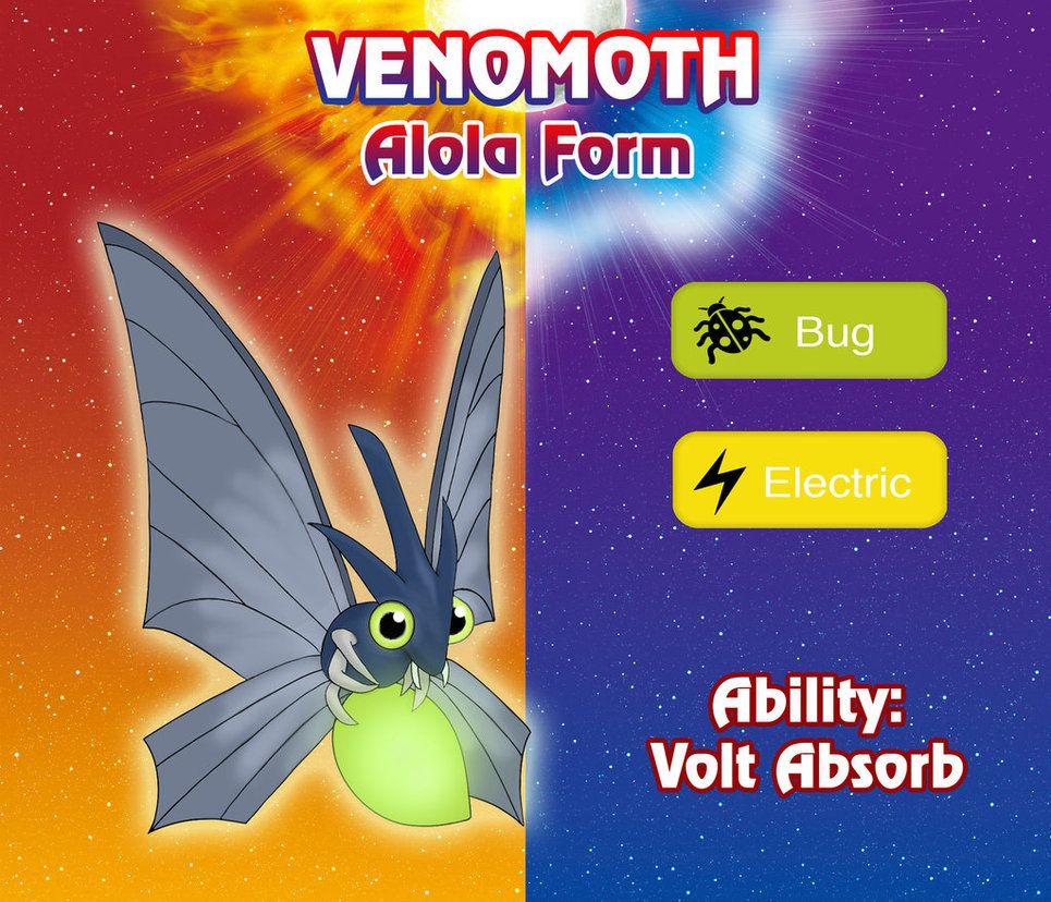 New Venomoth Alola Form By Sergiur12 A Bug Electric Venomoth For