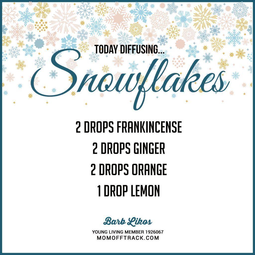 Great Winter Essential Oil Diffuser Recipe! Love SNOWFLAKES. #Essentialoilrecipes