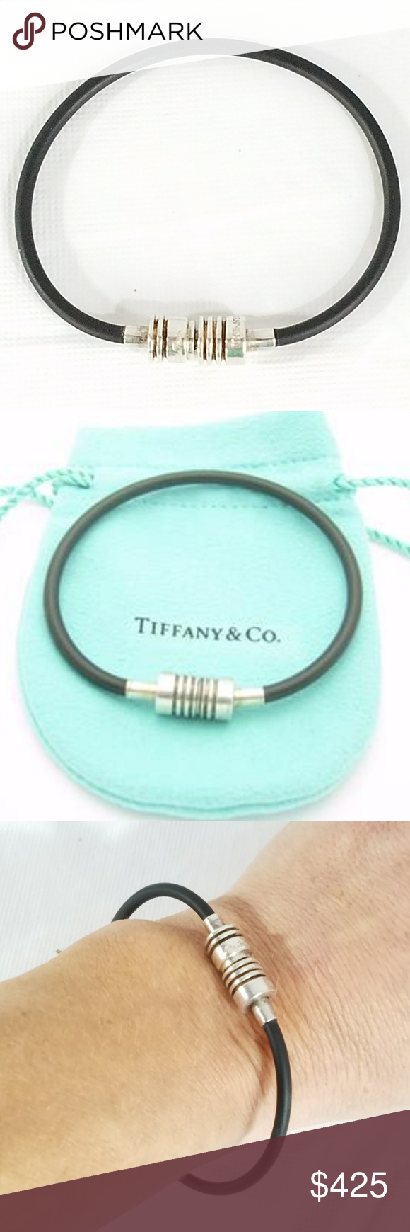 398ff8ab4 Picasso Groove Black Rubber Surfer Bracelet? Gorgeous Tiffany & Co.  Sterling Silver Picasso