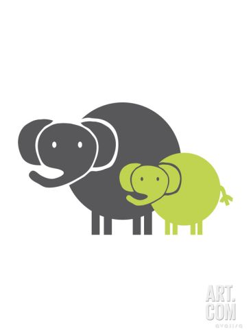 Lime Baby Elephant Print by Avalisa at Art.com