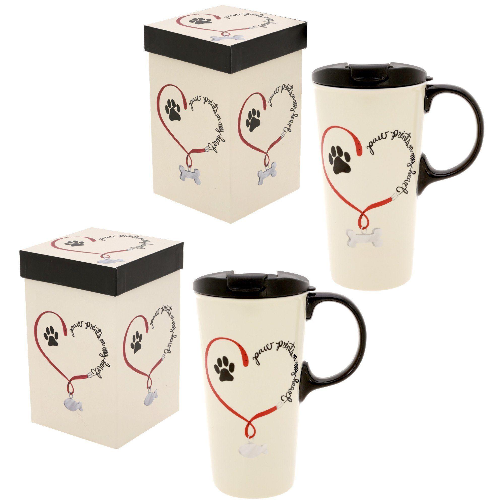 Paw Prints On My Heart Ceramic Travel Mug Mugs Coffee To Go Paw Print