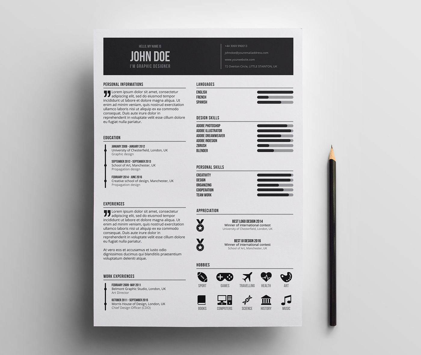 Free Minimal Resume Template / Minimalist / Simple / Clean / Freebie ...