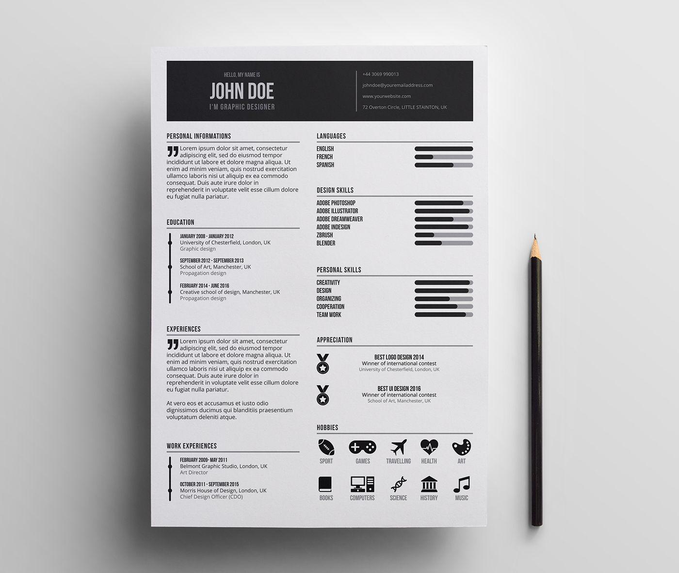 free minimal resume template minimalist simple clean freebie graphic design