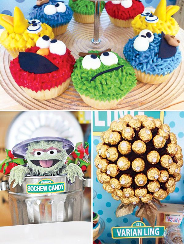 Baby S One Month Sesame Street Party Dessert Table Sesame