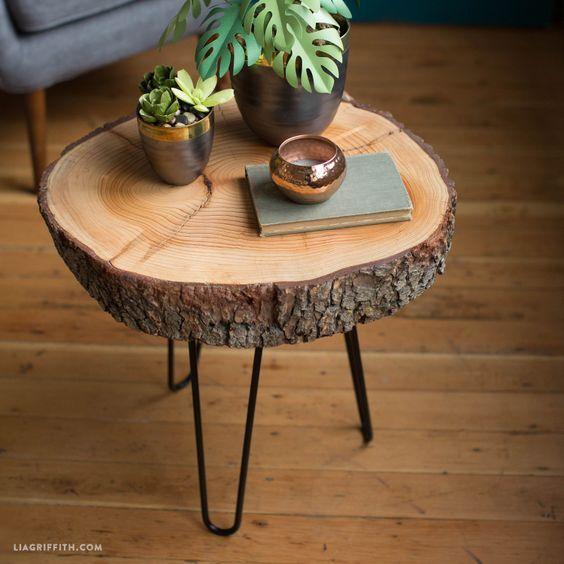 Diy Wood Slice Table Wooden Diy Diy Wood Projects Diy Wooden