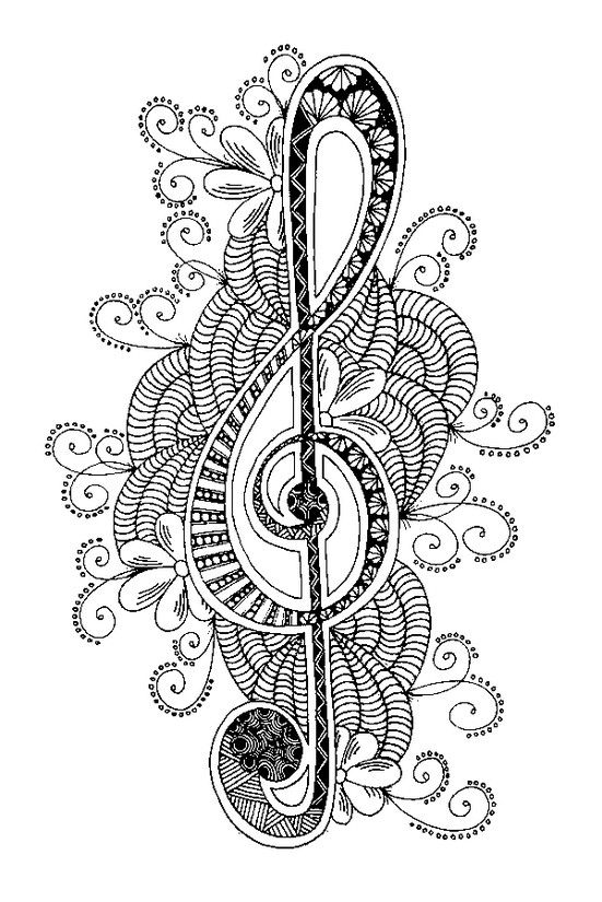 Icolor Music Treble Clef 551x825 Music Coloring Zentangle Drawings Zentangle Patterns