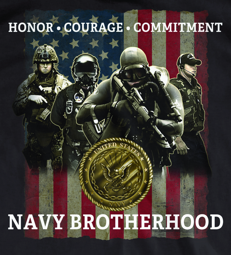 Medals of America's exclusive Navy Brotherhood t-shirt design. Designed and printed at Medals of America for our Navy Veterans and Active Duty members.