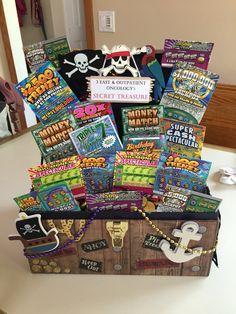 Lotto ticket gift basket, treasure chest #diy #basket