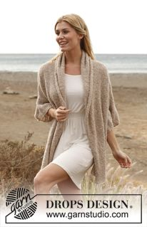 "Breezy Comfort / DROPS 136-8 - Knitted DROPS jacket in ""Alpaca Bouclé"".   Size: S - XXXL.   - Free pattern by DROPS Design"