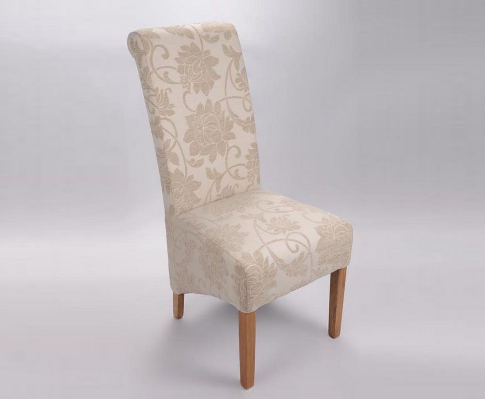 Vendi Cream Jacquard Floral Fabric Dining Chair