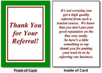 Thank You Referral Greeting Card