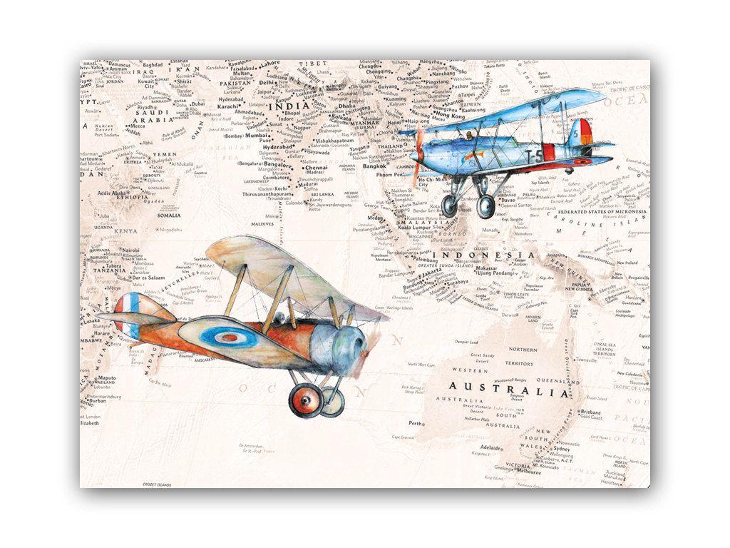 Military Airplane Print Indonesia Australia Map Vintage Airplane - Vintage aviation maps