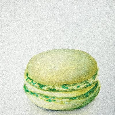 "East Urban Home 'Lime Macaron' by Jennifer Redstreake Painting Print on Wrapped Canvas Size: 37"" H x 37"" W x 0.75"" D"