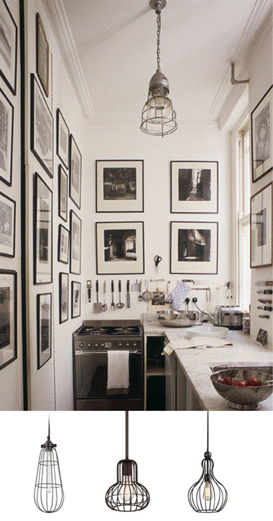 Urban Kitchen with Mini Industrial Cage Pendants