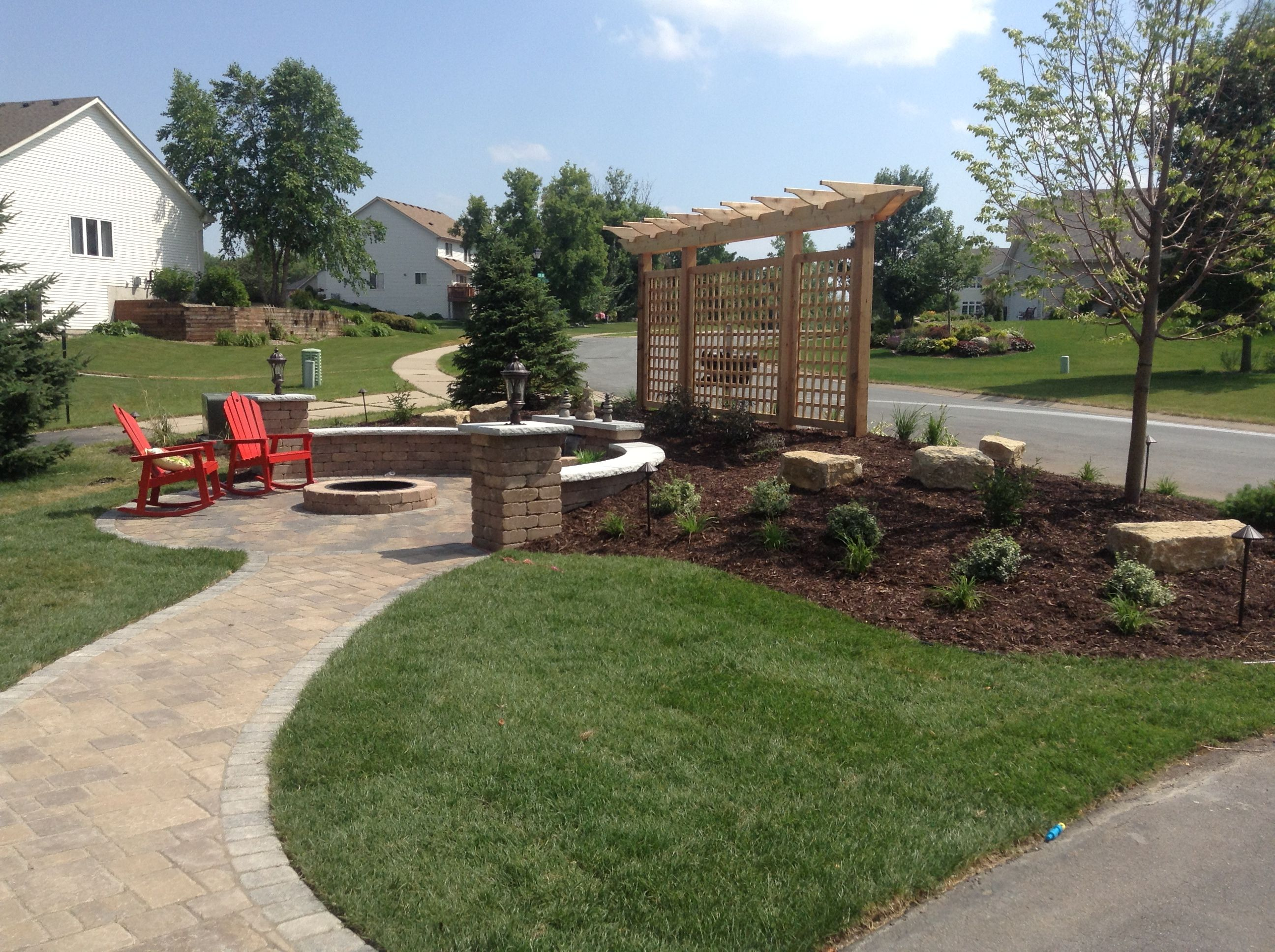 My Front Yard Patio Siting Wall Fire Pit And Fountain