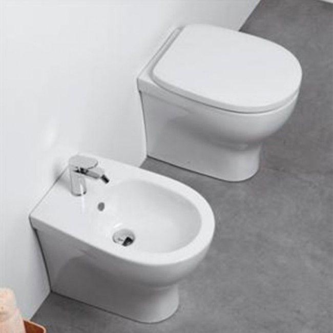 Sanitari Filoparete Ceramica Azzurra Pratica Wc Bidet Sedile