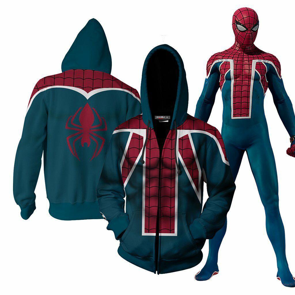 Spiderman Hoodies Avengers Spider Man 3d Zip Up Jacket Coat Man Hoodie Hoodies Spiderman Hoodie [ 1024 x 1024 Pixel ]