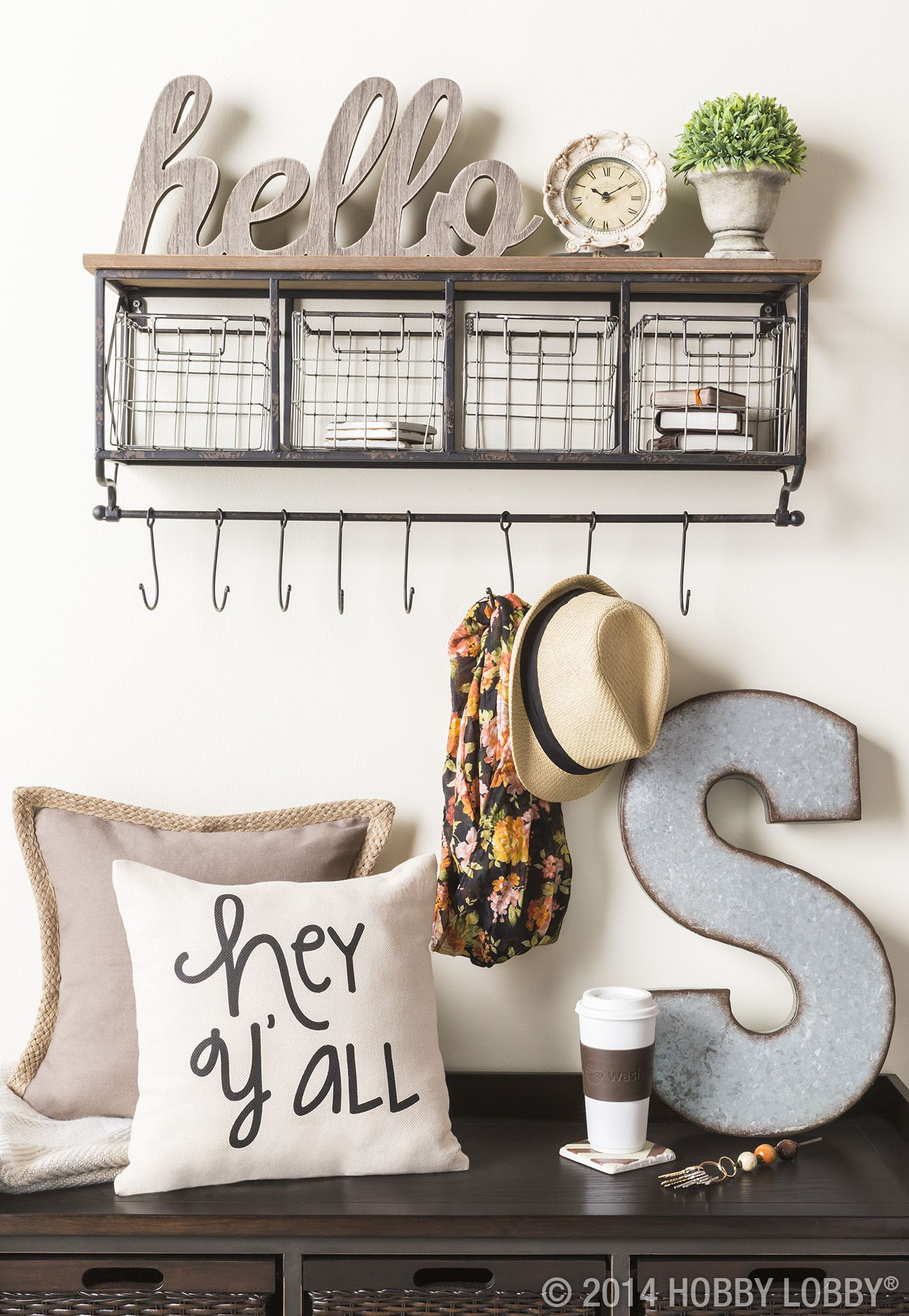 Shelf with metal baskets u hooks for the home pinterest hogar