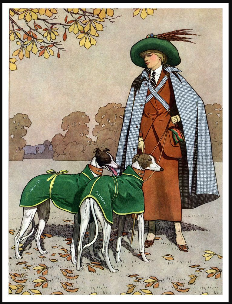 Greyhound Pretty Lady And Her Dogs Great Vintage Style Dog Print