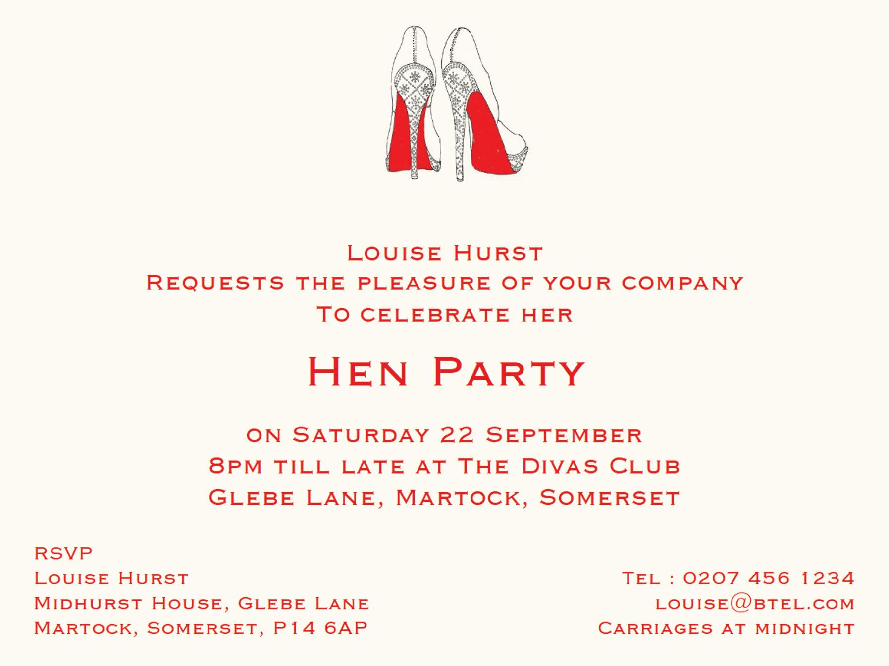 A6+ Illustrated & Personalised Hen Party Invitation card with ...
