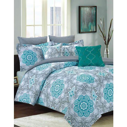 Howplumb Bedding Comforter 7 Pc Queen Size Bed Set Teal Blue And