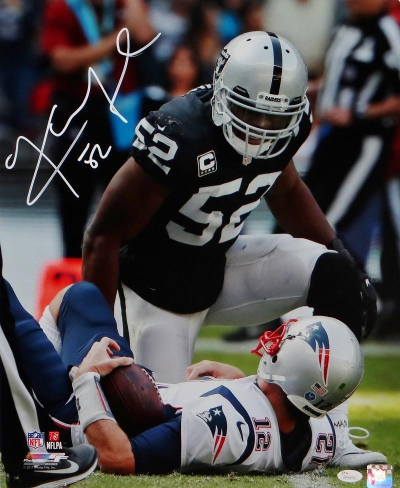 Khalil Mack Autographed Raiders 16x20 Over Brady Pf Photo Jsa W Auth White Football Fantasy Football Pf Photo