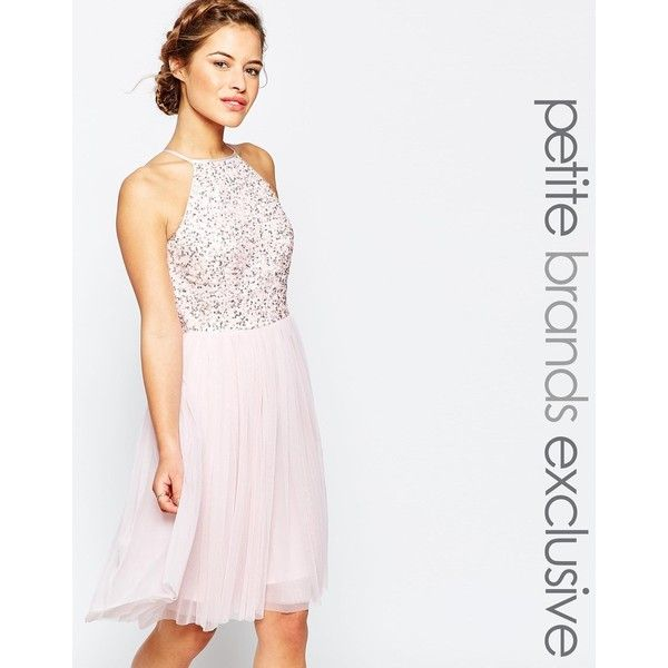Maya Petite Sequin Bodice Tulle Midi Prom Dress (1 035 ZAR) ❤ liked on Polyvore featuring dresses, petite, pink, pink sequin dress, petite dresses, white dress, white midi dress and white cocktail dresses